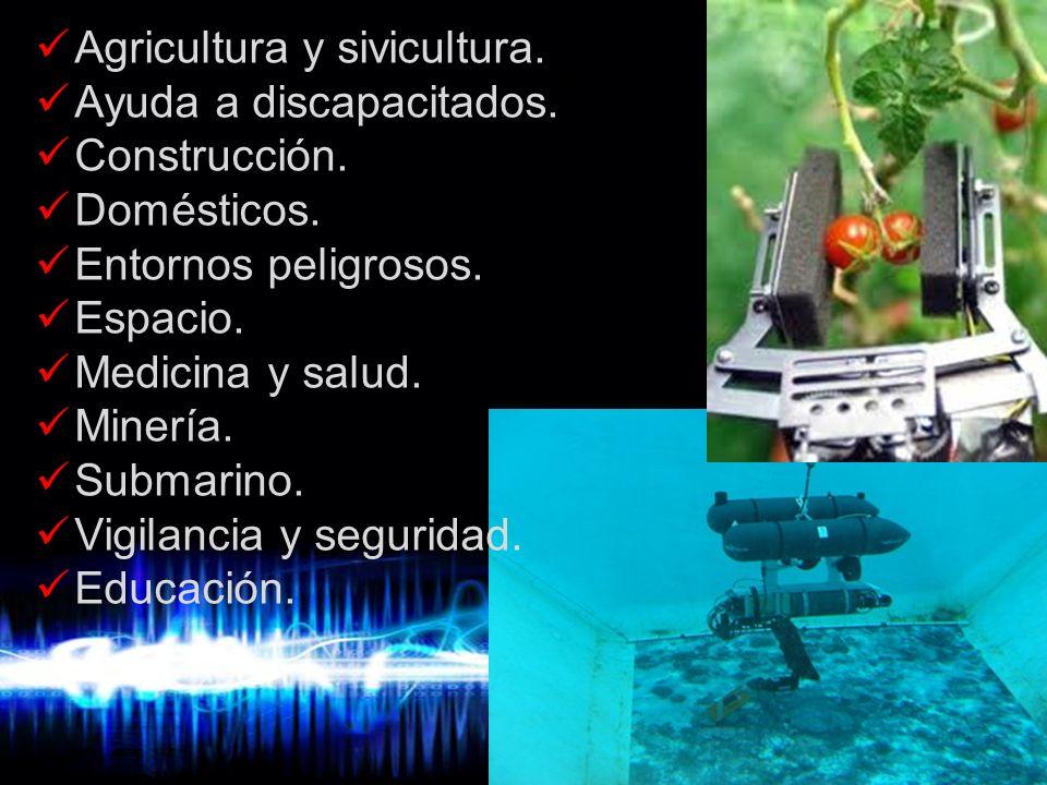 Page 11 Campos de aplicación de la robótica Agricultura y sivicultura. Ayuda a discapacitados. Construcción. Domésticos. Entornos peligrosos. Espacio.