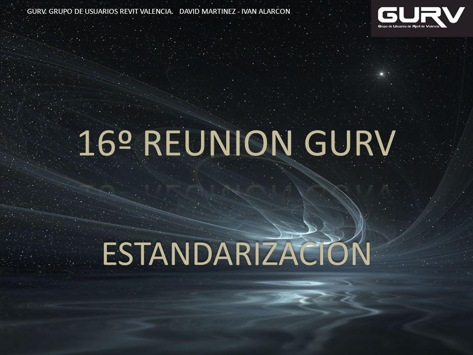 ESTANDARIZACION GURV. GRUPO DE USUARIOS REVIT VALENCIA. DAVID MARTINEZ - IVAN ALARCON