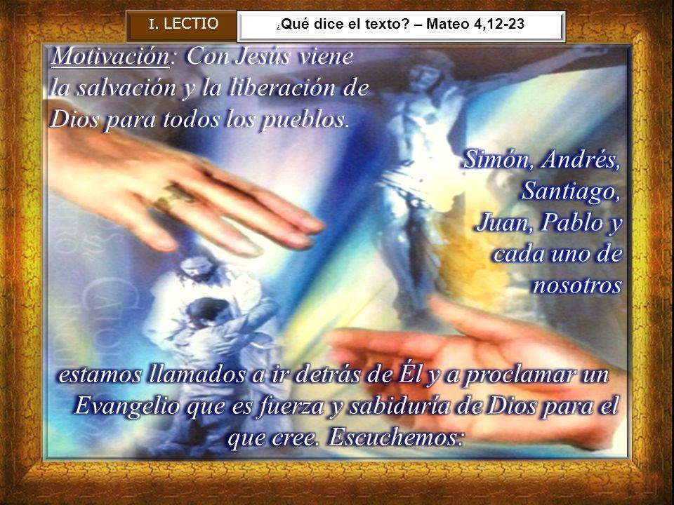 Clave de lectura El discípulo es invitado a seguir el paso de Cristo, en compañía de todos los discípulos (comunidad) y prepararse con ello a ser luz del mundo.