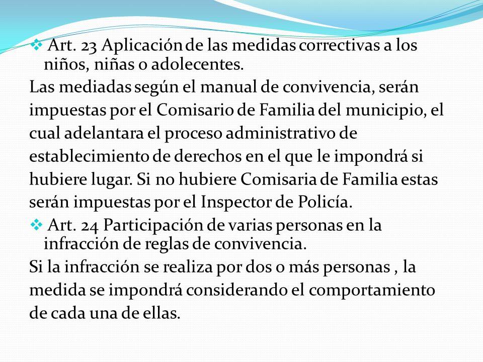 Art. 23 Aplicación de las medidas correctivas a los niños, niñas o adolecentes. Las mediadas según el manual de convivencia, serán impuestas por el Co