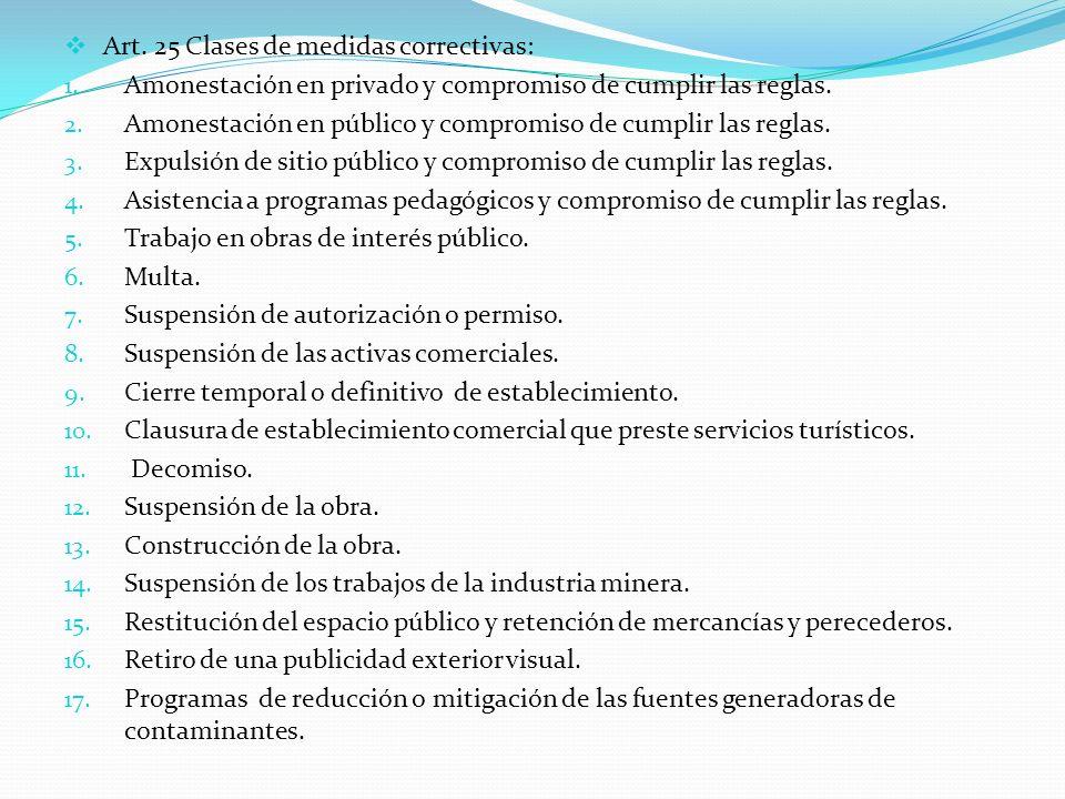 Art. 25 Clases de medidas correctivas: 1. Amonestación en privado y compromiso de cumplir las reglas. 2. Amonestación en público y compromiso de cumpl