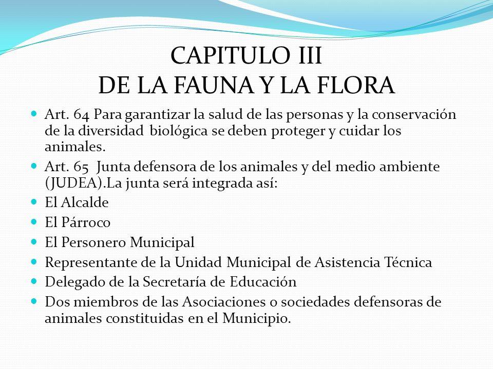 CAPITULO III DE LA FAUNA Y LA FLORA Art. 64 Para garantizar la salud de las personas y la conservación de la diversidad biológica se deben proteger y