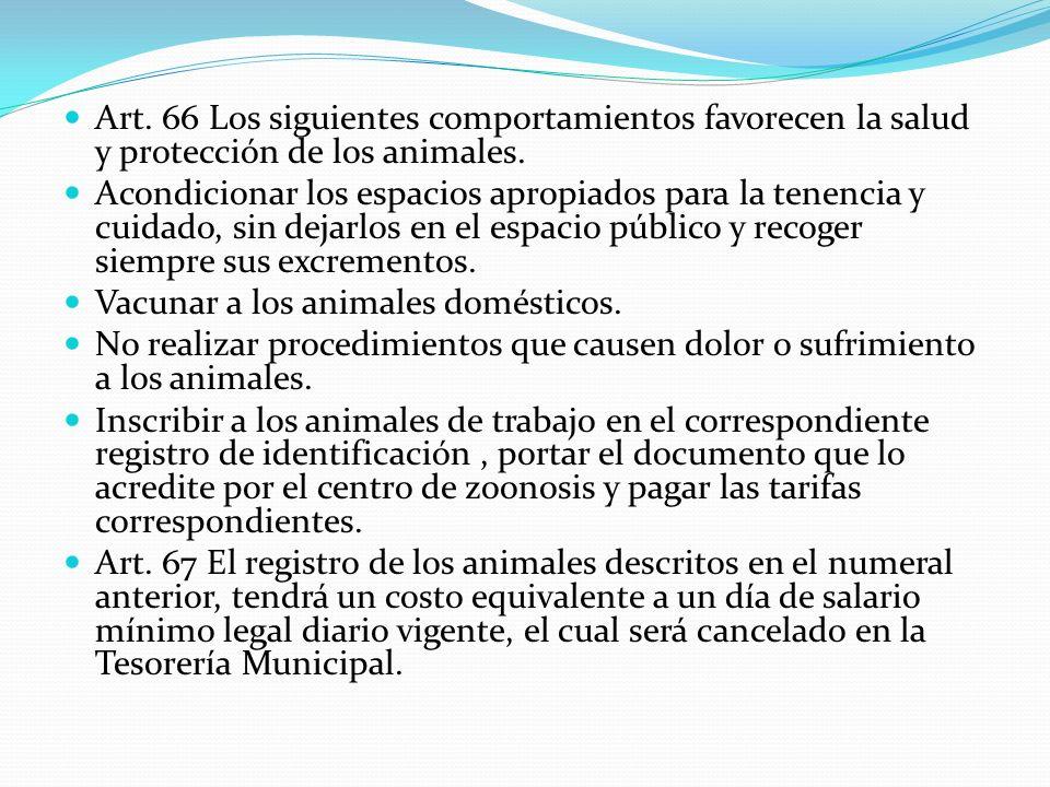 Art. 66 Los siguientes comportamientos favorecen la salud y protección de los animales. Acondicionar los espacios apropiados para la tenencia y cuidad