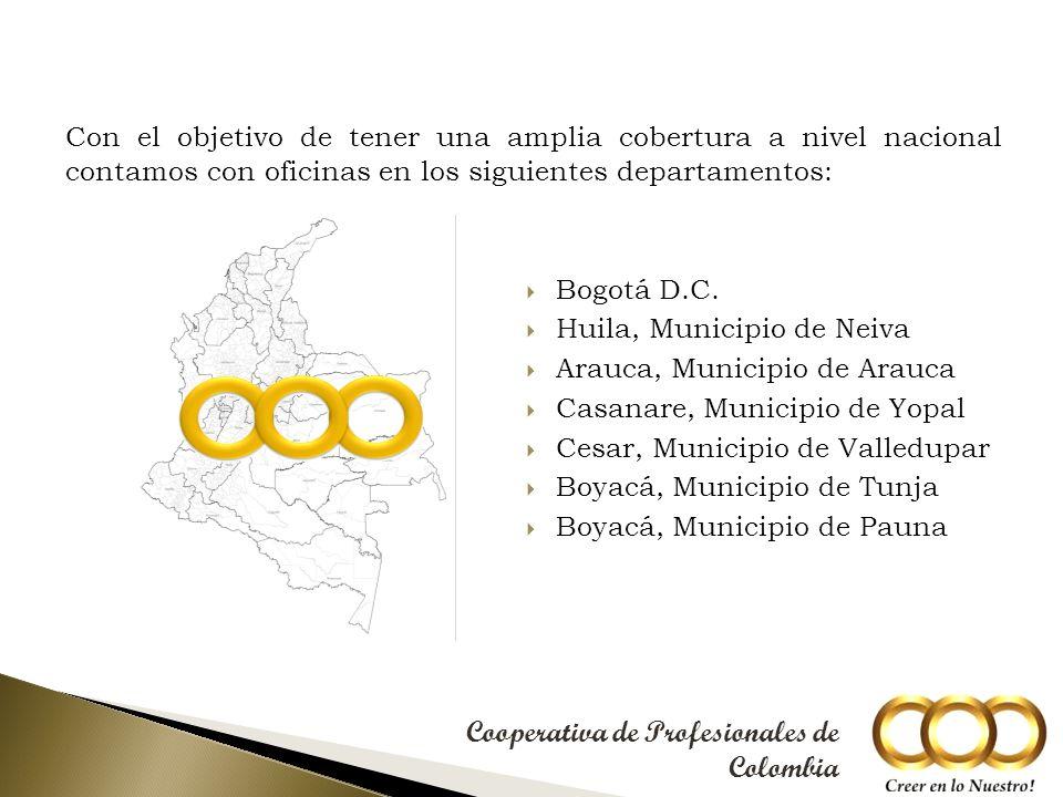 Con el objetivo de tener una amplia cobertura a nivel nacional contamos con oficinas en los siguientes departamentos: Bogotá D.C.