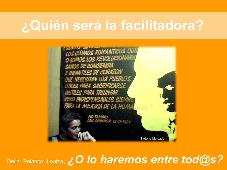 ¿Quién será la facilitadora? Delia Polanco Loaiza, ¿O lo haremos entre tod@s? Foto: C Mercado