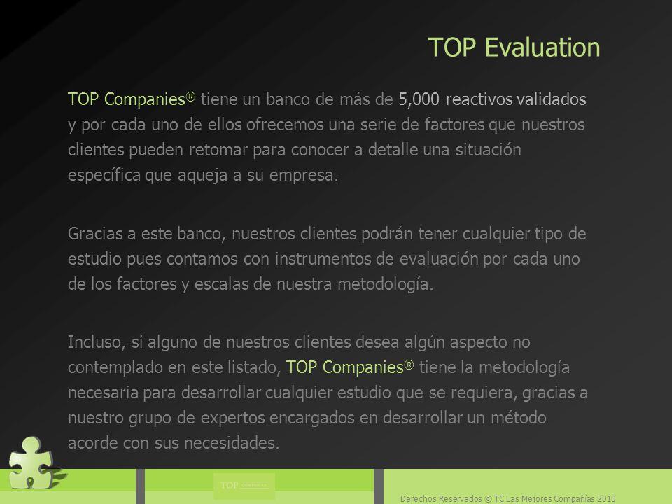 Derechos Reservados © TC Las Mejores Compañías 2010 TOP Companies ® tiene un banco de más de 5,000 reactivos validados y por cada uno de ellos ofrecemos una serie de factores que nuestros clientes pueden retomar para conocer a detalle una situación específica que aqueja a su empresa.