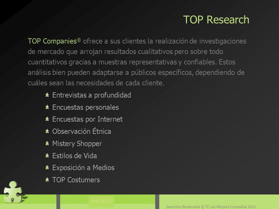 Derechos Reservados © TC Las Mejores Compañías 2010 TOP Companies ® ofrece a sus clientes la realización de investigaciones de mercado que arrojan resultados cualitativos pero sobre todo cuantitativos gracias a muestras representativas y confiables.