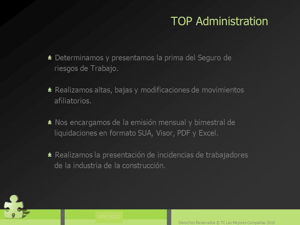 Derechos Reservados © TC Las Mejores Compañías 2010 Determinamos y presentamos la prima del Seguro de riesgos de Trabajo.