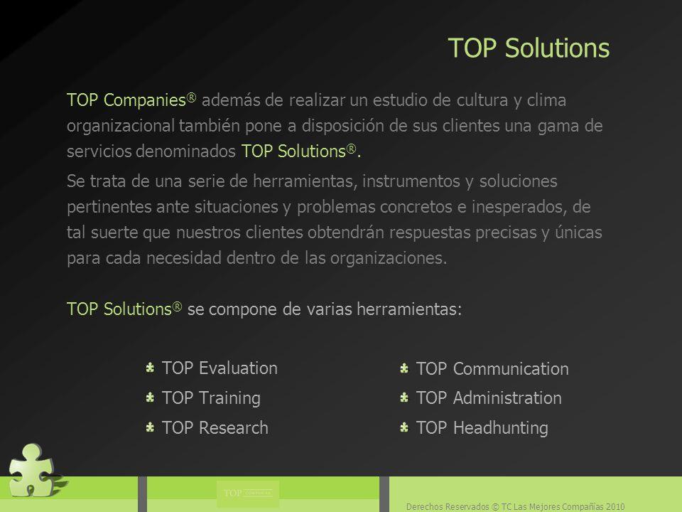 Derechos Reservados © TC Las Mejores Compañías 2010 TOP Companies ® además de realizar un estudio de cultura y clima organizacional también pone a disposición de sus clientes una gama de servicios denominados TOP Solutions ®.