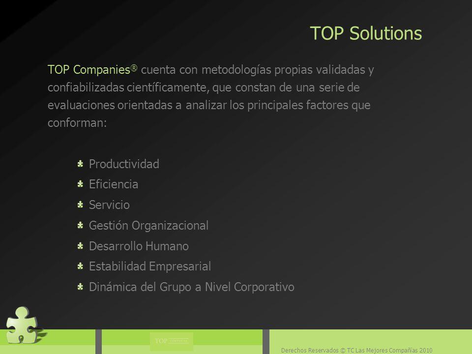 Derechos Reservados © TC Las Mejores Compañías 2010 TOP Companies ® colabora con este proyecto evaluando organizaciones y empresas a nivel nacional para elaborar los resultados que son publicados en la edición especial de la revista.