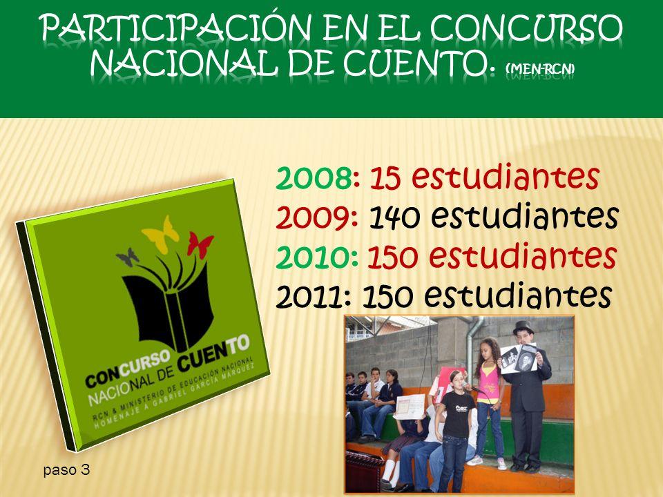2008: 15 estudiantes 2009: 140 estudiantes 2010: 150 estudiantes 2011: 150 estudiantes paso 3