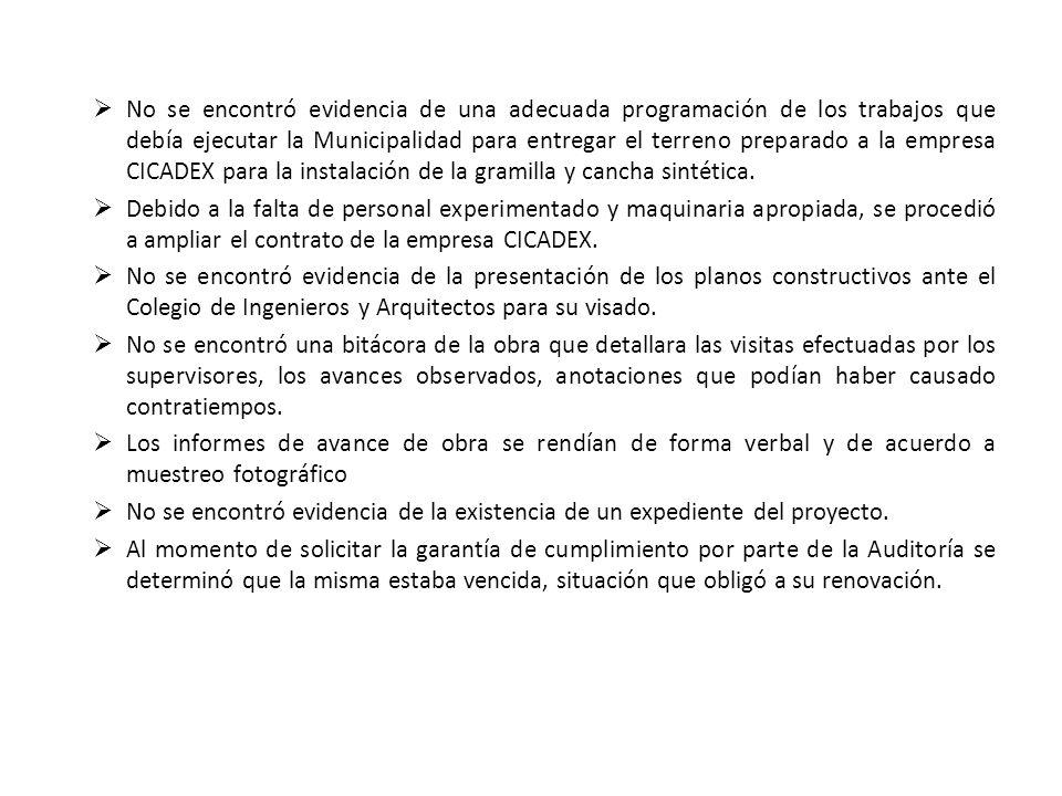 No se encontró evidencia de una adecuada programación de los trabajos que debía ejecutar la Municipalidad para entregar el terreno preparado a la empr