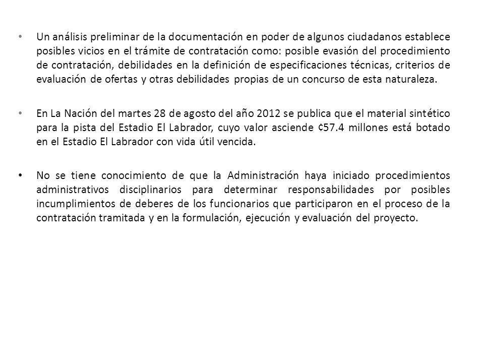 Un análisis preliminar de la documentación en poder de algunos ciudadanos establece posibles vicios en el trámite de contratación como: posible evasió