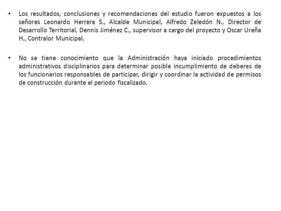 Los resultados, conclusiones y recomendaciones del estudio fueron expuestos a los señores Leonardo Herrera S., Alcalde Municipal, Alfredo Zeledón N.,