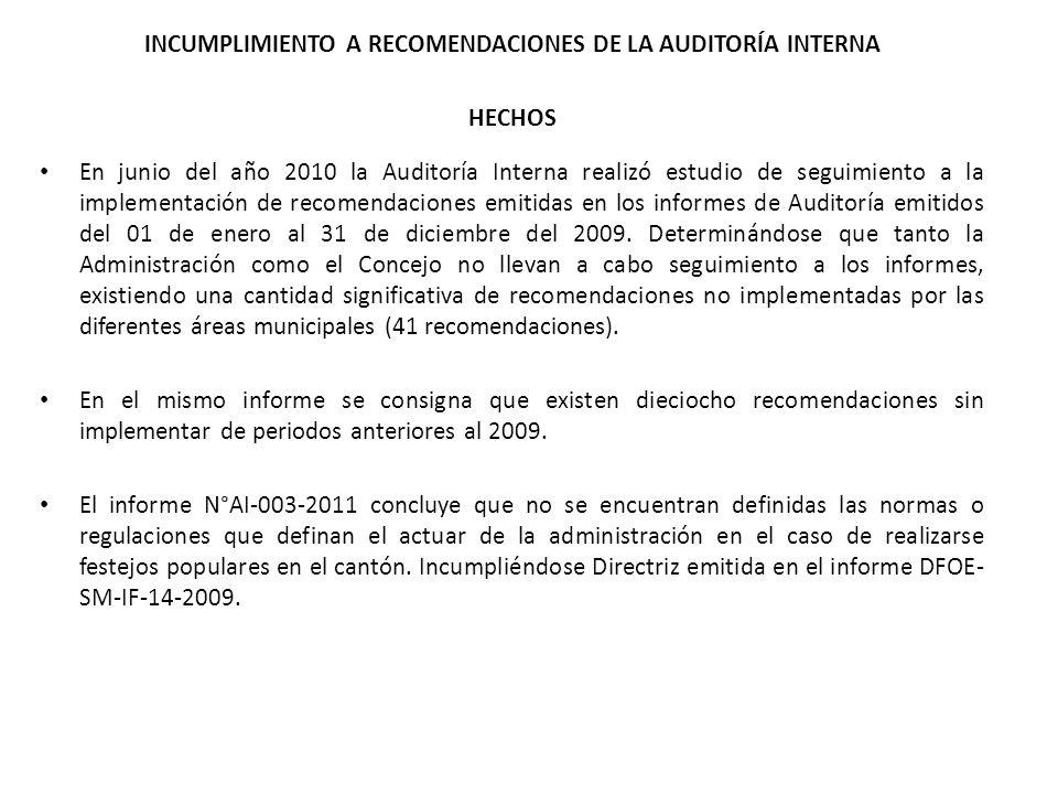INCUMPLIMIENTO A RECOMENDACIONES DE LA AUDITORÍA INTERNA HECHOS En junio del año 2010 la Auditoría Interna realizó estudio de seguimiento a la impleme