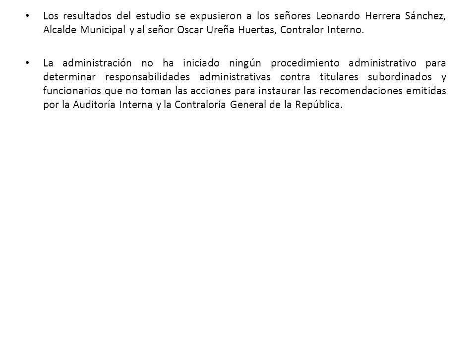 Los resultados del estudio se expusieron a los señores Leonardo Herrera Sánchez, Alcalde Municipal y al señor Oscar Ureña Huertas, Contralor Interno.