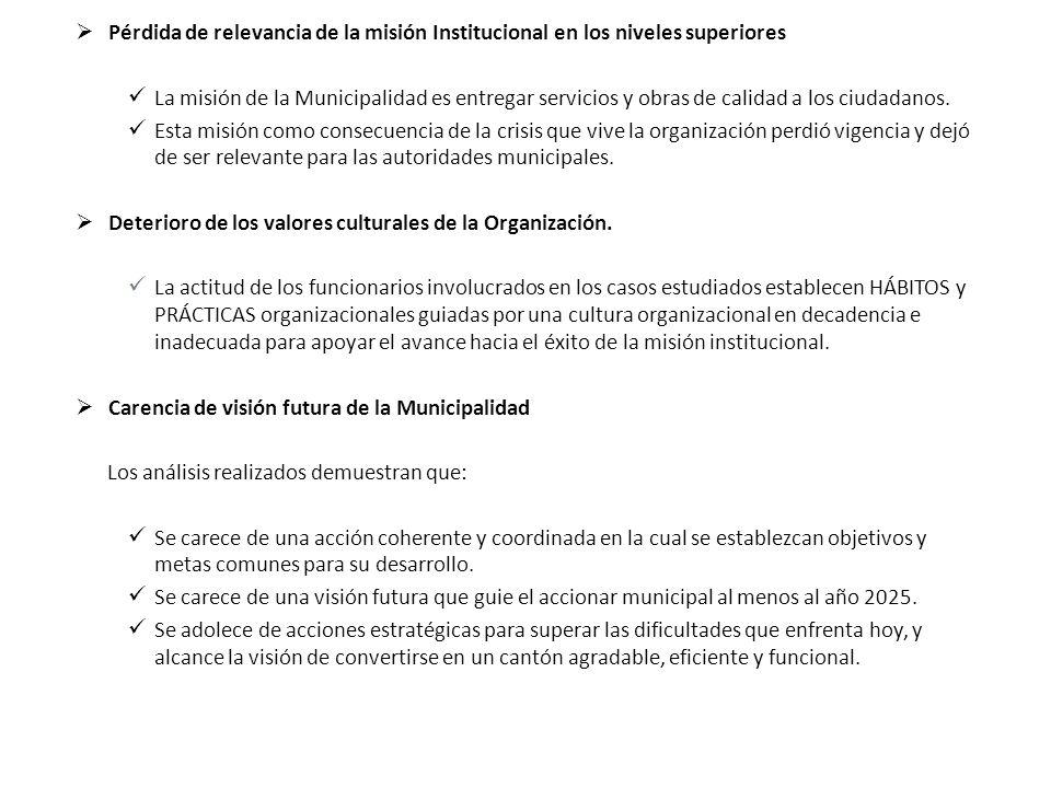 Pérdida de relevancia de la misión Institucional en los niveles superiores La misión de la Municipalidad es entregar servicios y obras de calidad a lo