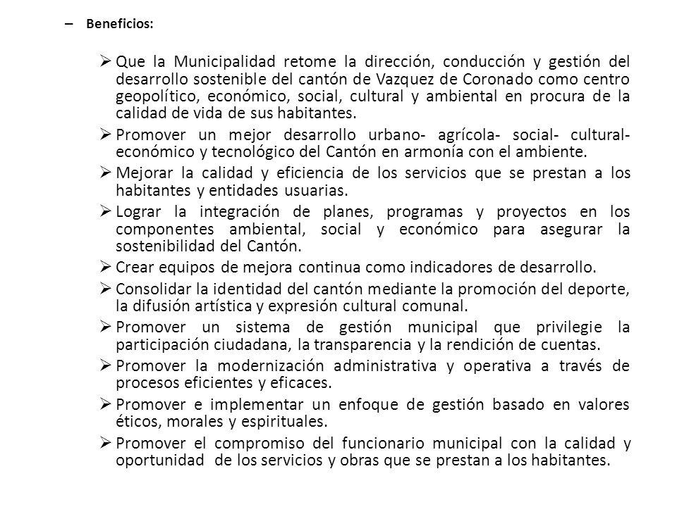 – Beneficios: Que la Municipalidad retome la dirección, conducción y gestión del desarrollo sostenible del cantón de Vazquez de Coronado como centro g