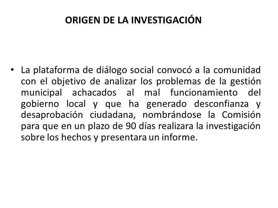 ORIGEN DE LA INVESTIGACIÓN La plataforma de diálogo social convocó a la comunidad con el objetivo de analizar los problemas de la gestión municipal ac