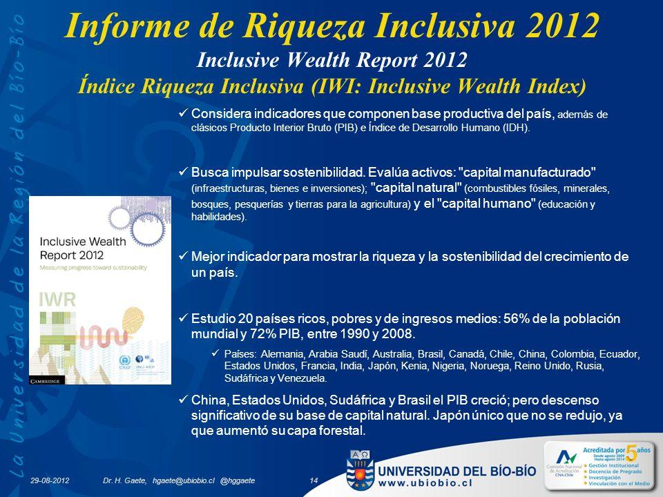 29-08-2012 Informe de Riqueza Inclusiva 2012 Inclusive Wealth Report 2012 Índice Riqueza Inclusiva (IWI: Inclusive Wealth Index) Considera indicadores que componen base productiva del país, además de clásicos Producto Interior Bruto (PIB) e Índice de Desarrollo Humano (IDH).
