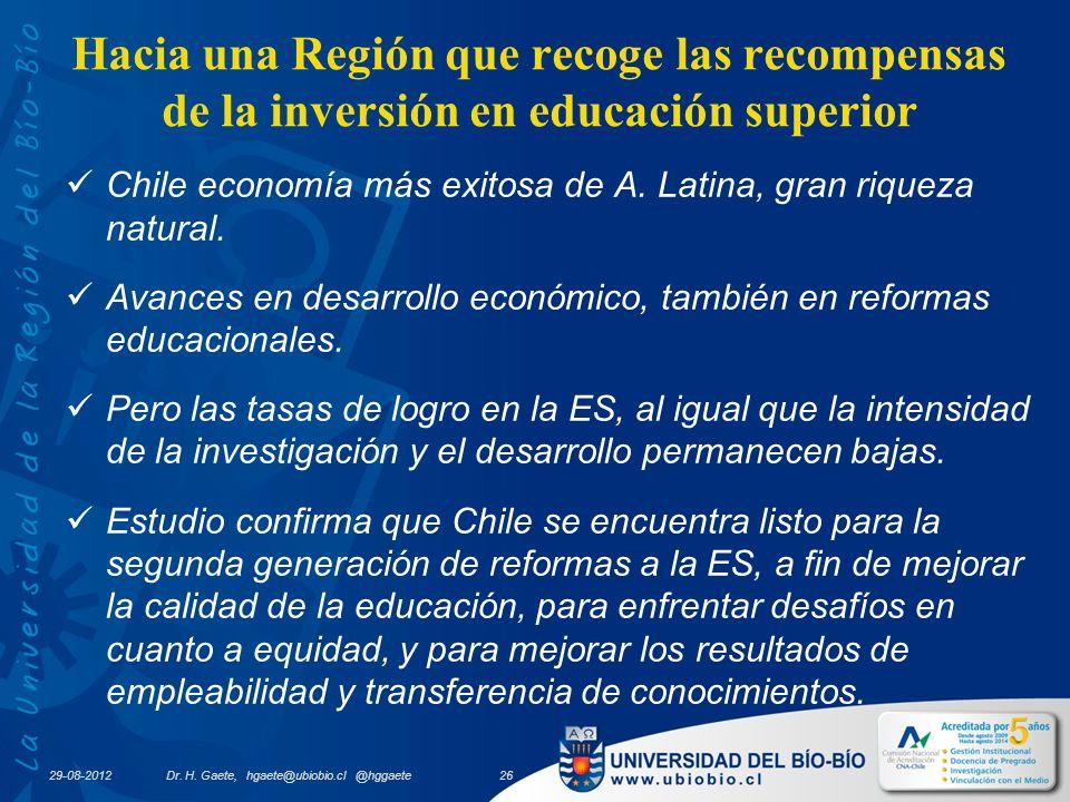 29-08-2012 Hacia una Región que recoge las recompensas de la inversión en educación superior Chile economía más exitosa de A.