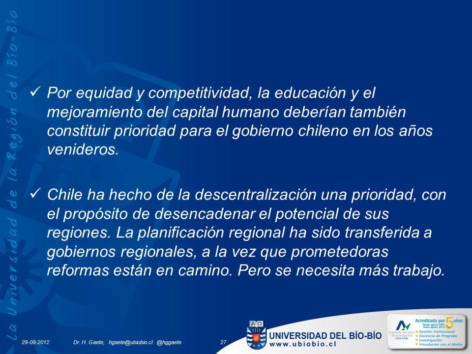29-08-2012 Por equidad y competitividad, la educación y el mejoramiento del capital humano deberían también constituir prioridad para el gobierno chileno en los años venideros.