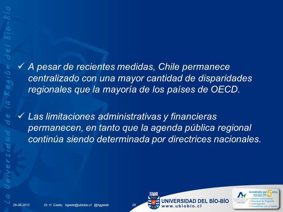 29-08-2012 A pesar de recientes medidas, Chile permanece centralizado con una mayor cantidad de disparidades regionales que la mayoría de los países de OECD.