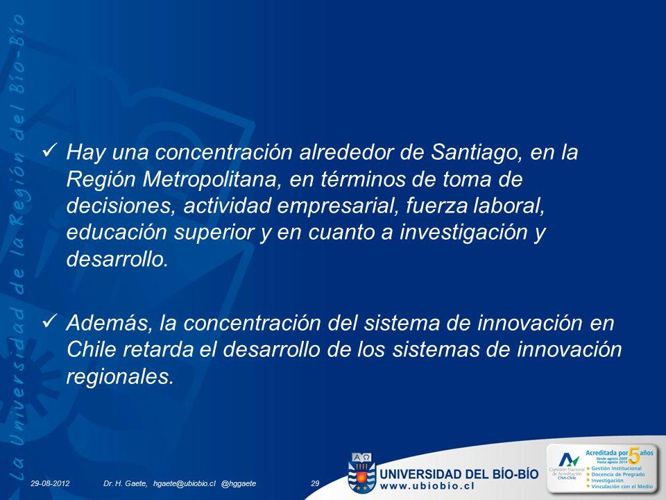 29-08-2012 Hay una concentración alrededor de Santiago, en la Región Metropolitana, en términos de toma de decisiones, actividad empresarial, fuerza laboral, educación superior y en cuanto a investigación y desarrollo.