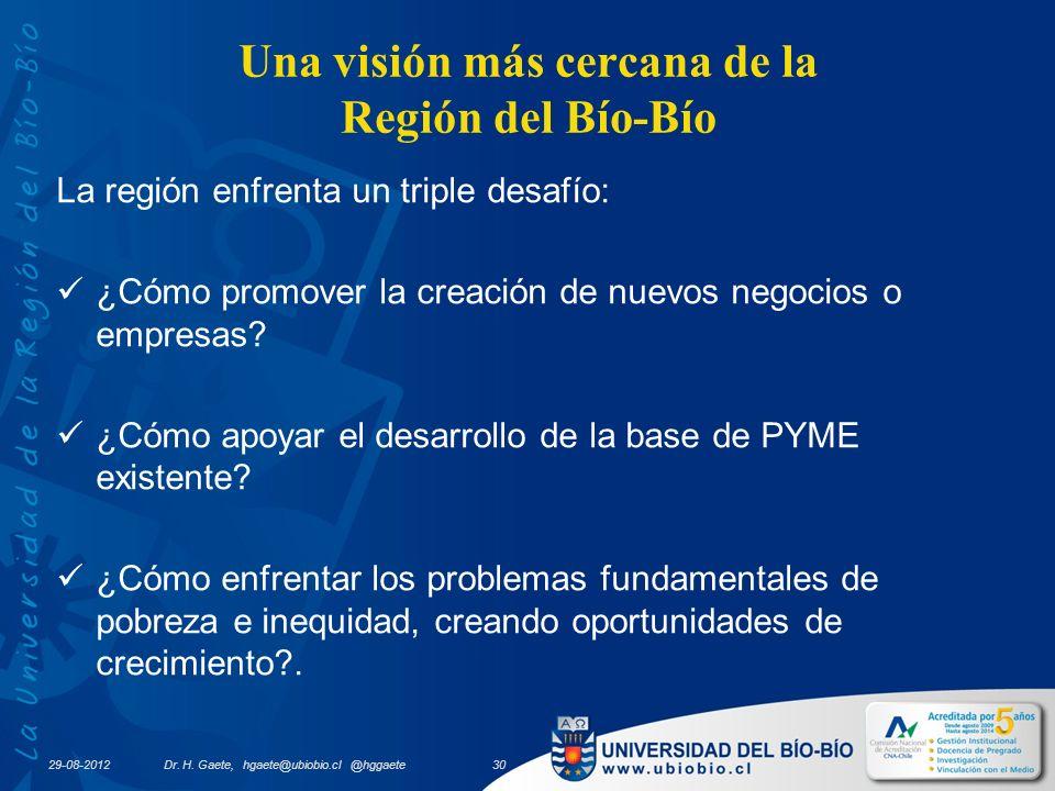 29-08-2012 Una visión más cercana de la Región del Bío-Bío La región enfrenta un triple desafío: ¿Cómo promover la creación de nuevos negocios o empresas.