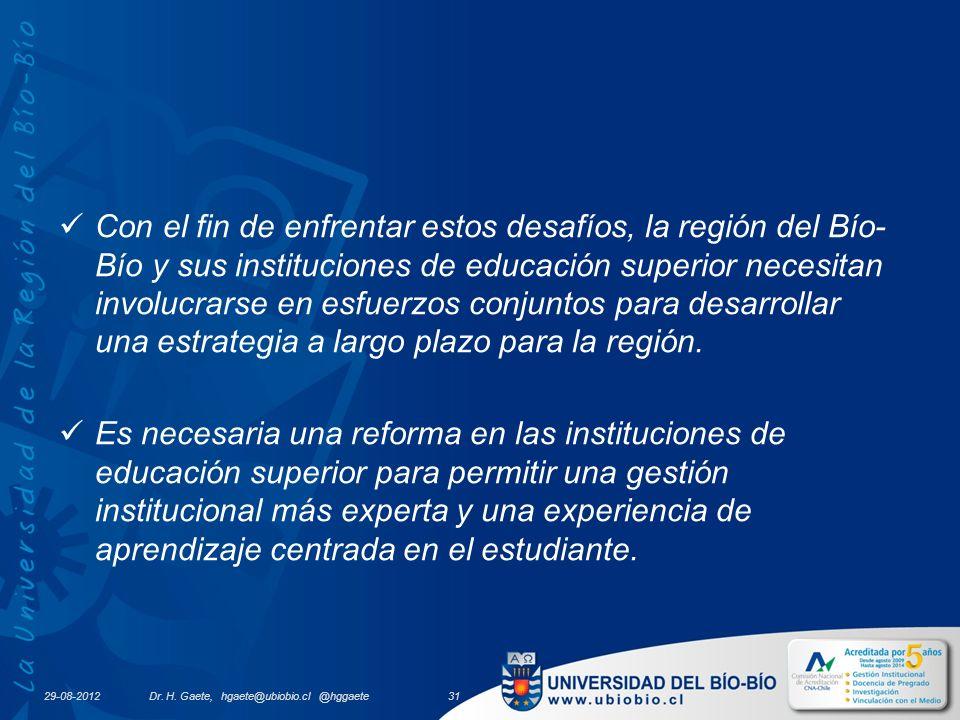 29-08-2012 Con el fin de enfrentar estos desafíos, la región del Bío- Bío y sus instituciones de educación superior necesitan involucrarse en esfuerzos conjuntos para desarrollar una estrategia a largo plazo para la región.