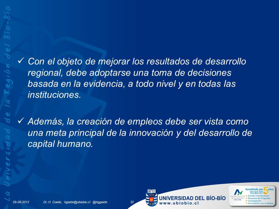 29-08-2012 Con el objeto de mejorar los resultados de desarrollo regional, debe adoptarse una toma de decisiones basada en la evidencia, a todo nivel y en todas las instituciones.