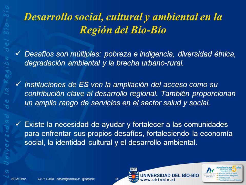 29-08-2012 Desarrollo social, cultural y ambiental en la Región del Bío-Bío Desafíos son múltiples: pobreza e indigencia, diversidad étnica, degradación ambiental y la brecha urbano-rural.