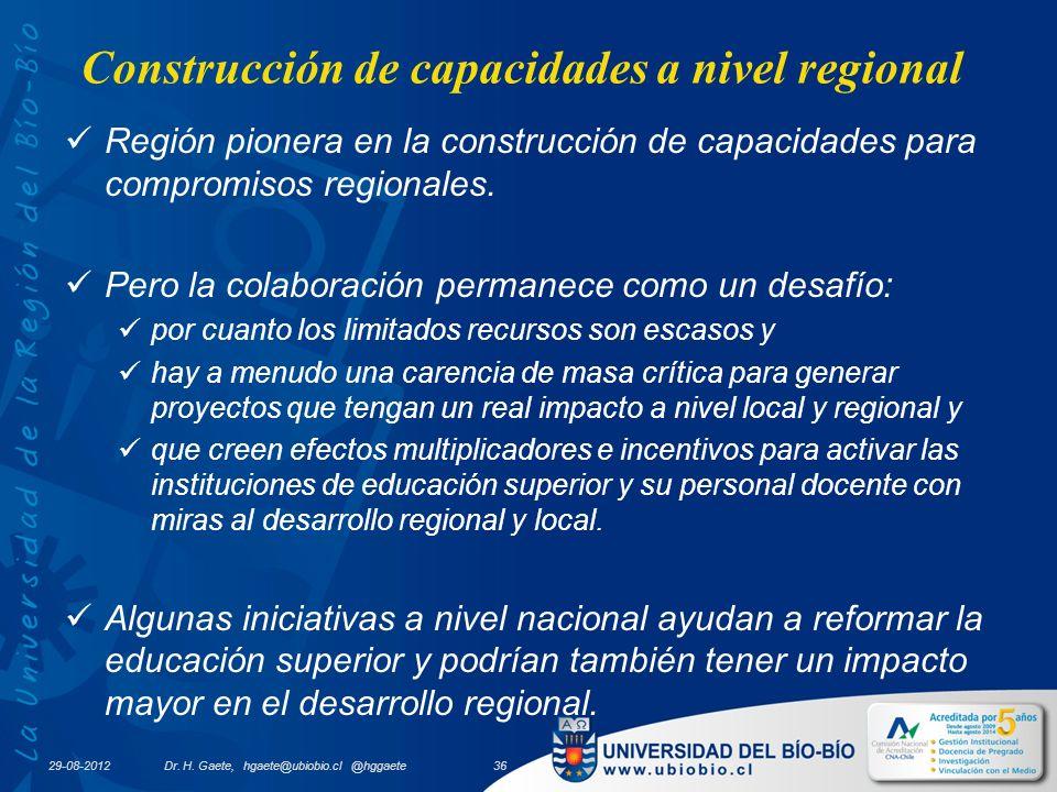 29-08-2012 Construcción de capacidades a nivel regional Región pionera en la construcción de capacidades para compromisos regionales.