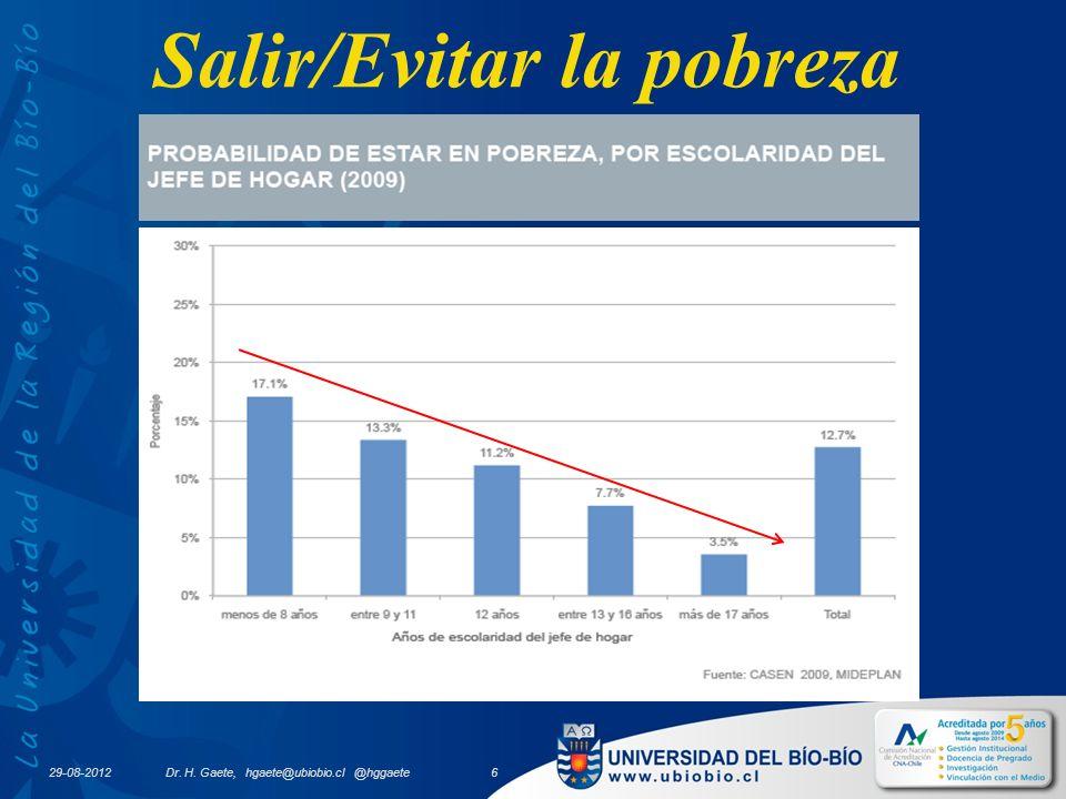 Salir/Evitar la pobreza 29-08-2012 Dr. H. Gaete, hgaete@ubiobio.cl @hggaete 6