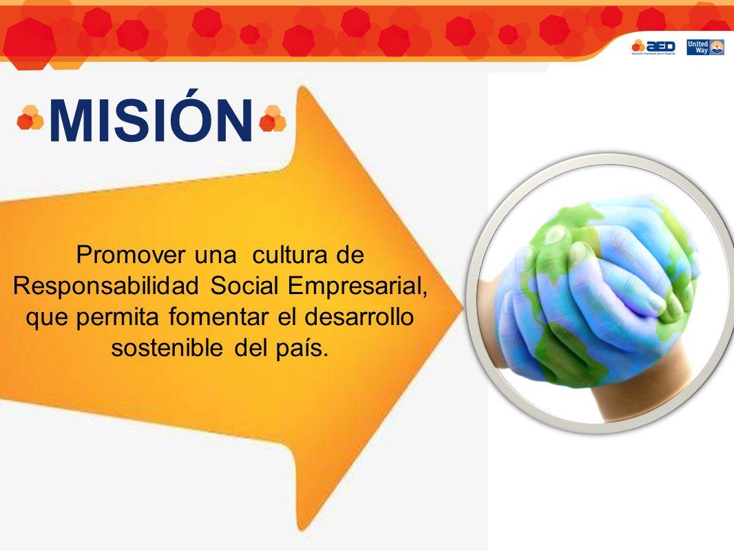 ASOCIACIÓN EMPRESARIAL PARA EL DESARROLLO MISIÓN Promover una cultura de Responsabilidad Social Empresarial, que permita fomentar el desarrollo sostenible del país.