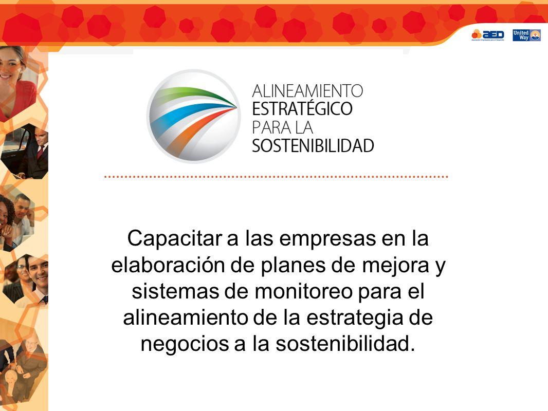 Capacitar a las empresas en la elaboración de planes de mejora y sistemas de monitoreo para el alineamiento de la estrategia de negocios a la sostenibilidad.