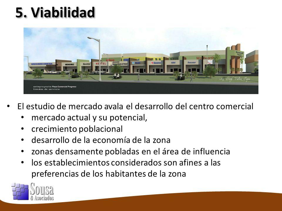 5. Viabilidad El estudio de mercado avala el desarrollo del centro comercial mercado actual y su potencial, crecimiento poblacional desarrollo de la e