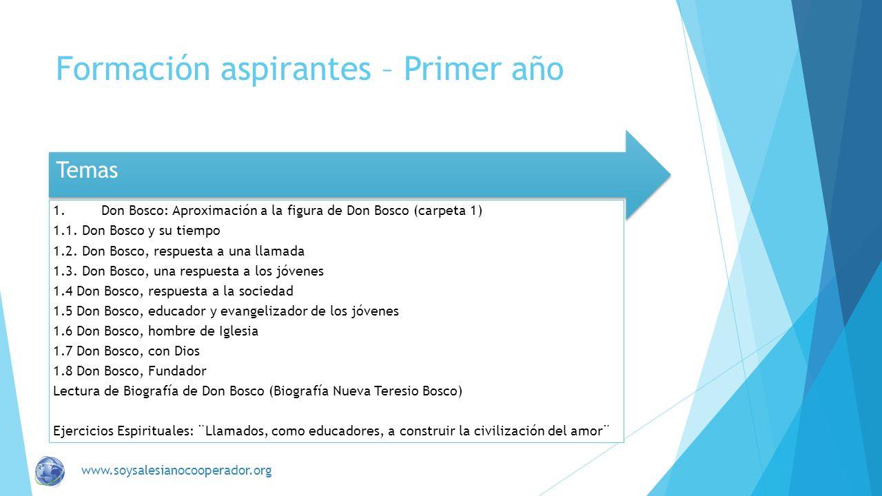 Formación aspirantes – Primer año Temas 1.Don Bosco: Aproximación a la figura de Don Bosco (carpeta 1) 1.1. Don Bosco y su tiempo 1.2. Don Bosco, resp