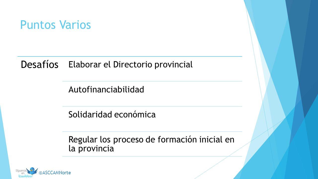 Puntos Varios Desafíos Elaborar el Directorio provincial Autofinanciabilidad Solidaridad económica Regular los proceso de formación inicial en la prov