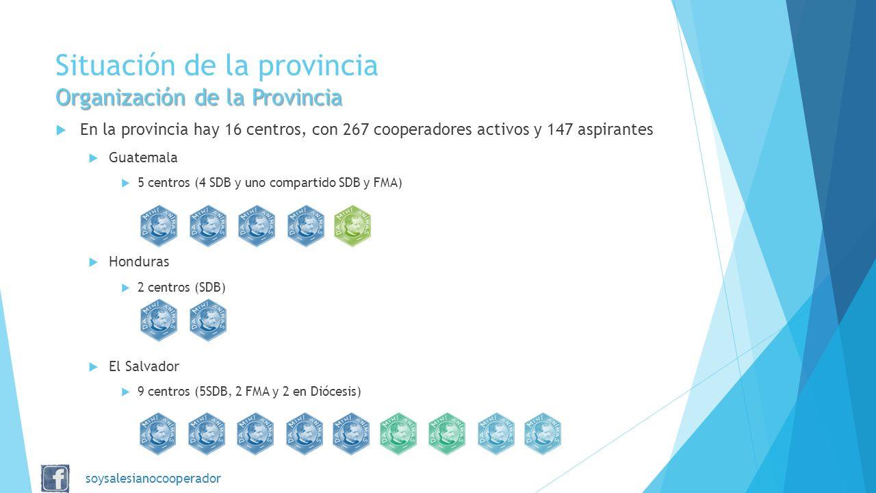 Organización de la Provincia Situación de la provincia Organización de la Provincia En la provincia hay 16 centros, con 267 cooperadores activos y 147