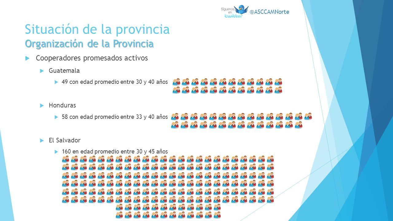 Organización de la Provincia Situación de la provincia Organización de la Provincia Cooperadores promesados activos Guatemala 49 con edad promedio ent