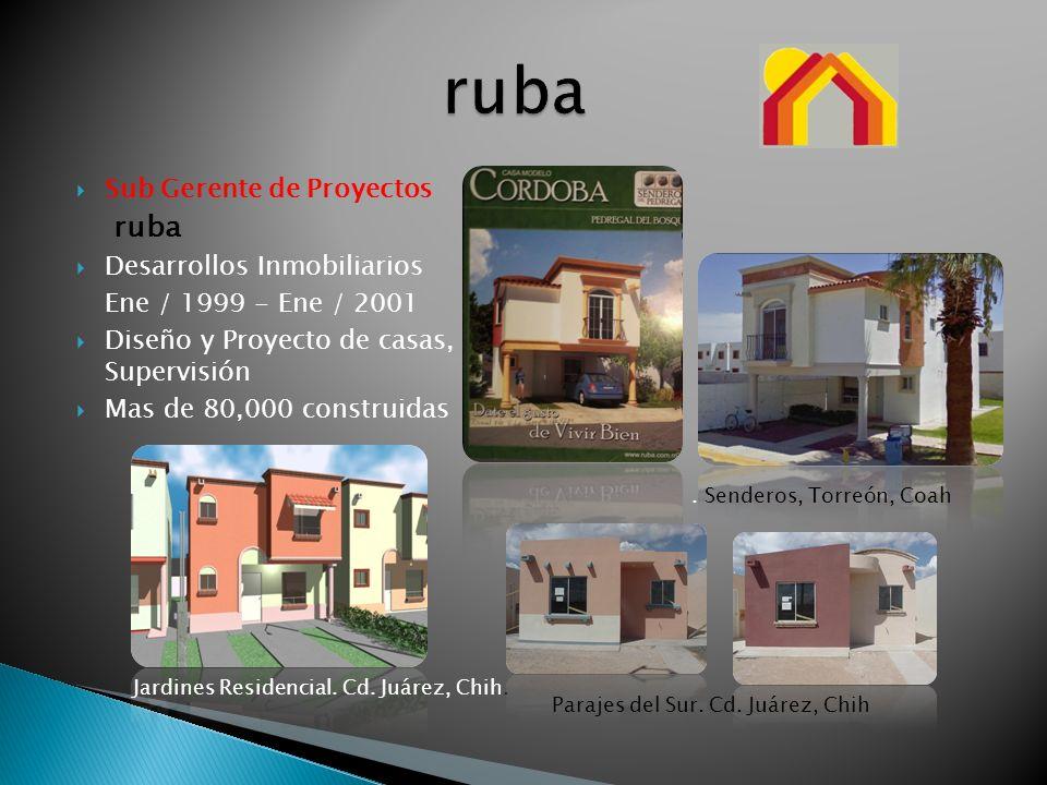 Sub Gerente de Proyectos ruba Desarrollos Inmobiliarios Ene / 1999 - Ene / 2001 Diseño y Proyecto de casas, Supervisión Mas de 80,000 construidas Para