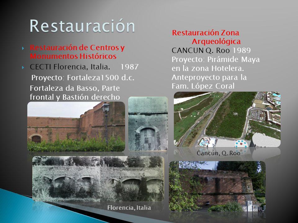 Restauración de Centros y Monumentos Históricos CECTI Florencia, Italia. 1987 Proyecto: Fortaleza1500 d.c. Fortaleza da Basso, Parte frontal y Bastión