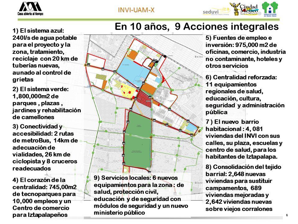 6 INVI-UAM-X En 10 años, 9 Acciones integrales 1) El sistema azul: 240l/s de agua potable para el proyecto y la zona, tratamiento, reciclaje con 20 km de tuberías nuevas, aunado al control de grietas 2) El sistema verde: 1,800,000m2 de parques, plazas, jardines y rehabilitación de camellones 3) Conectividad y accesibilidad: 2 rutas de metroBus, 14km de adecuación de vialidades, 26 km de ciclopista y 8 cruceros readecuados 4) El corazón de la centralidad: 745,00m2 de tecnoparques para 10,000 empleos y un Centro de comercio para Iztapalapeños 5) Fuentes de empleo e inversión: 975,000 m2 de oficinas, comercio, industria no contaminante, hoteles y otros servicios 6) Centralidad reforzada: 11 equipamientos regionales de salud, educación, cultura, seguridad y administración pública 7 ) El nuevo barrio habitacional : 4, 081 viviendas del INVI con sus calles, su plaza, escuelas y centro de salud, para los habitantes de Iztapalapa.
