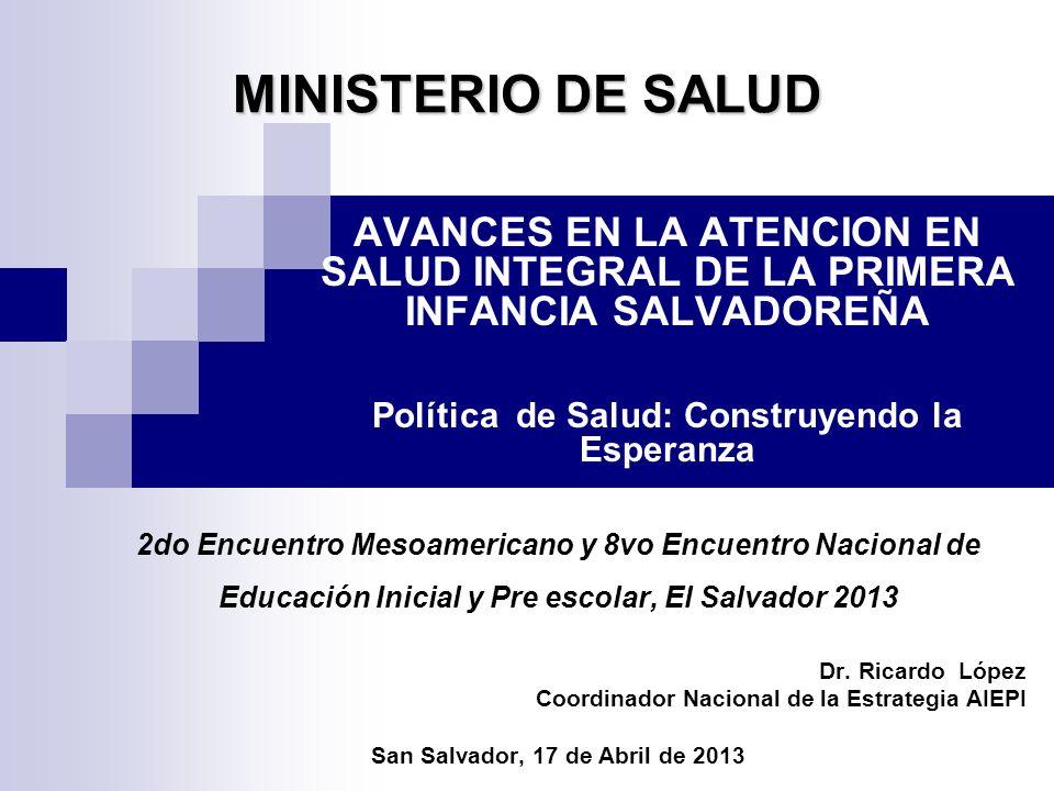 MINISTERIO DE SALUD 2do Encuentro Mesoamericano y 8vo Encuentro Nacional de Educación Inicial y Pre escolar, El Salvador 2013 Dr. Ricardo López Coordi