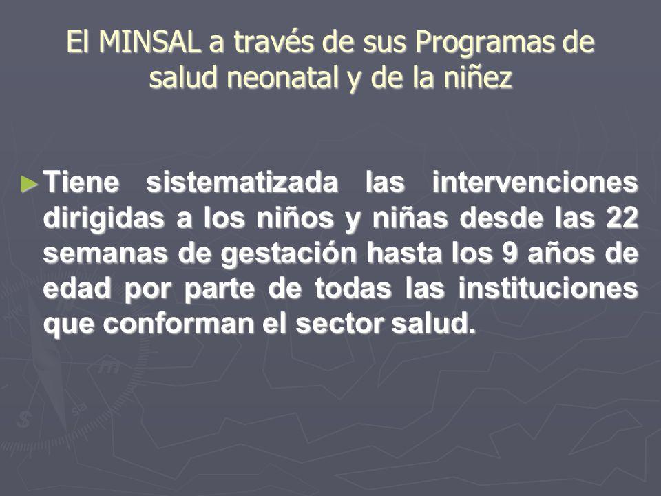 El MINSAL a través de sus Programas de salud neonatal y de la niñez Tiene sistematizada las intervenciones dirigidas a los niños y niñas desde las 22