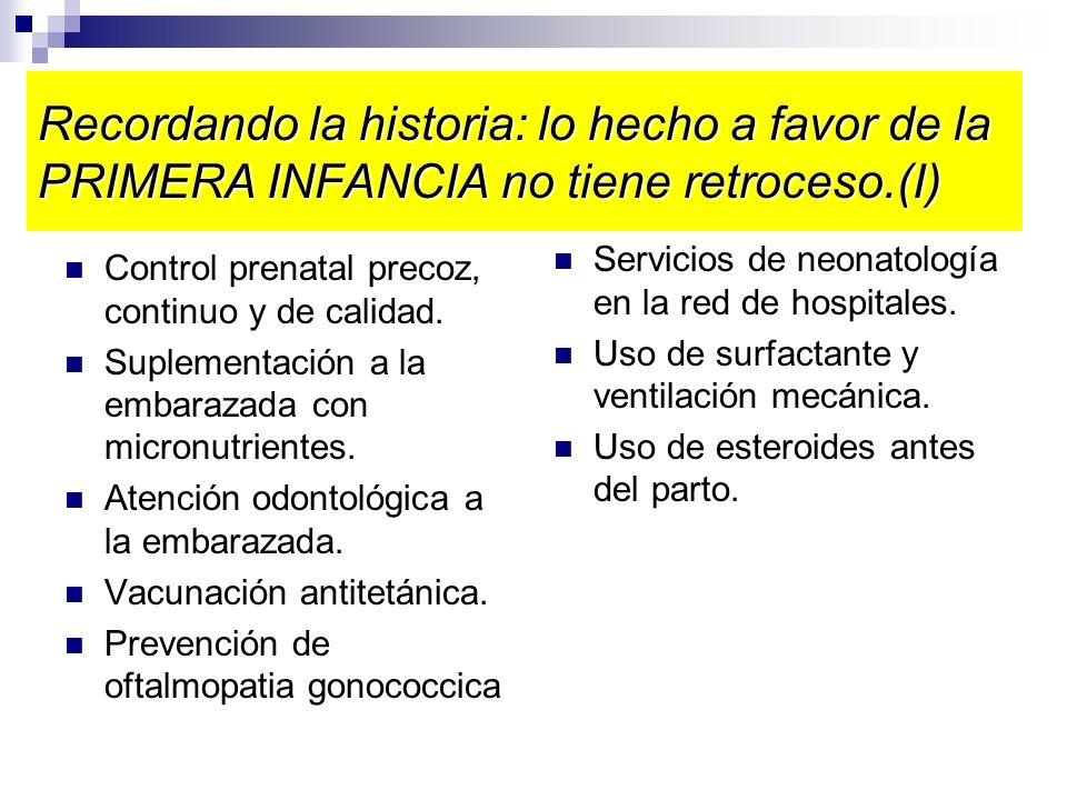 Recordando la historia: lo hecho a favor de la PRIMERA INFANCIA no tiene retroceso.(I) Control prenatal precoz, continuo y de calidad. Suplementación