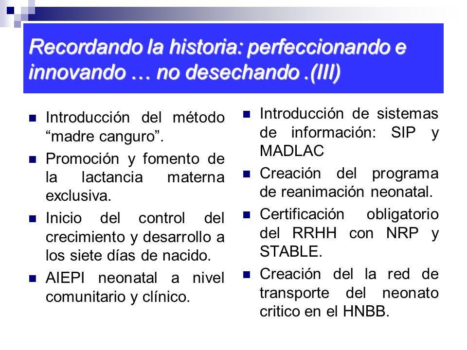Recordando la historia: perfeccionando e innovando … no desechando.(III) Introducción del método madre canguro. Promoción y fomento de la lactancia ma