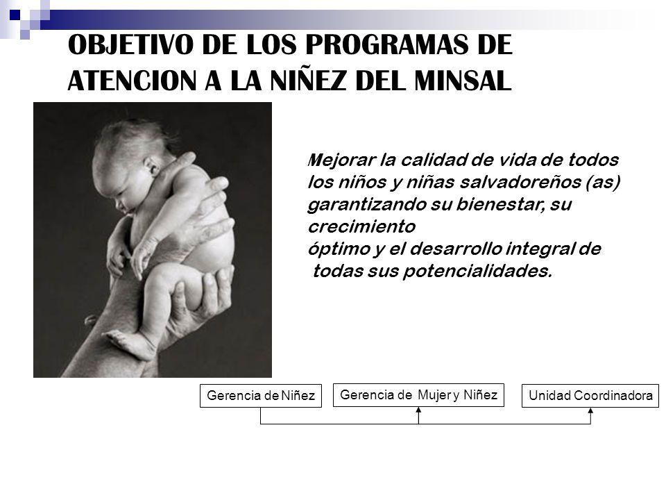 OBJETIVO DE LOS PROGRAMAS DE ATENCION A LA NIÑEZ DEL MINSAL M ejorar la calidad de vida de todos los niños y niñas salvadoreños (as) garantizando su b