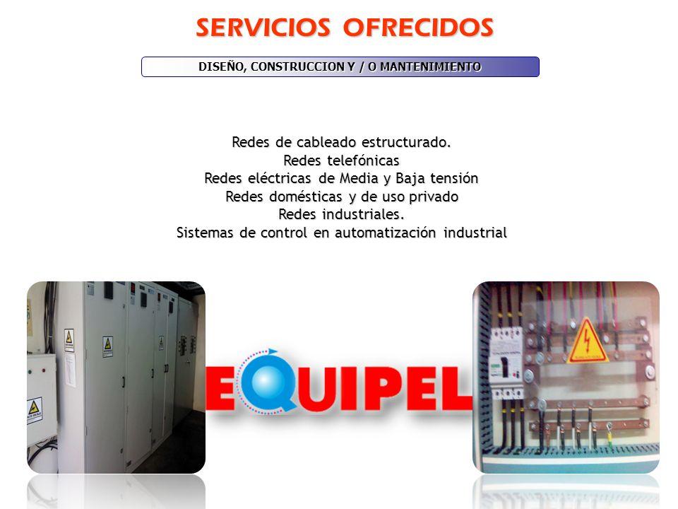 SERVICIOS OFRECIDOS Redes de cableado estructurado. Redes telefónicas Redes eléctricas de Media y Baja tensión Redes domésticas y de uso privado Redes